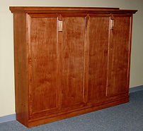 Sideways murphy bed with trim added to face
