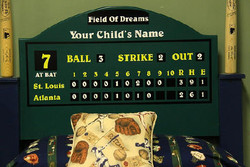 Close up of baseball headboard