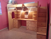 Loft bed with desk and stairs