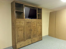 Murphy bed turned sideways in a shaker style.