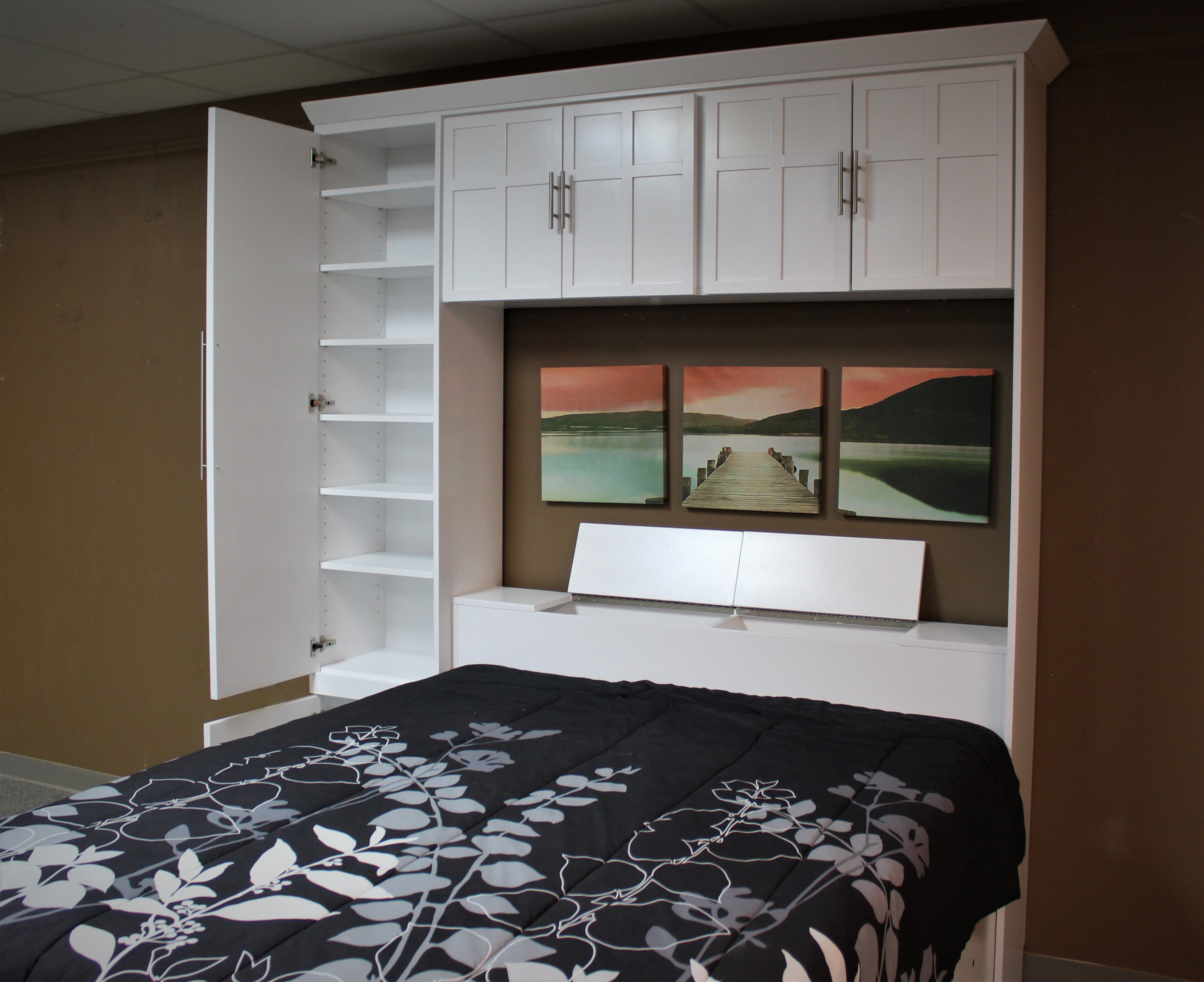 Lift Bed Bookcase Open