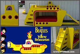 A kids bed that looks like a yellow submarine
