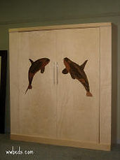 Murphy bed with a whale on the face