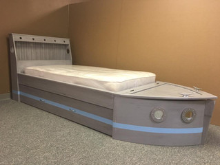 Distressed Gray Boat Bed