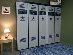 Locker murphy bed that has a Dallas Cowboys theme.