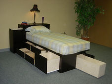 Low profile headboard and drawer pedestal