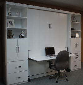 Alpine Murphy wall bed shown with the desk open