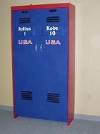A folding wall bed designed to look like a USA Basketball Locker