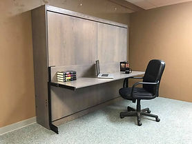 Horizontal Murphy wall bed shown with the desk