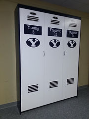 A folding wall bed designed to look like a BYU Locker