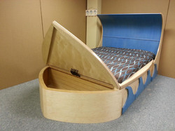 Surfboard bed front open