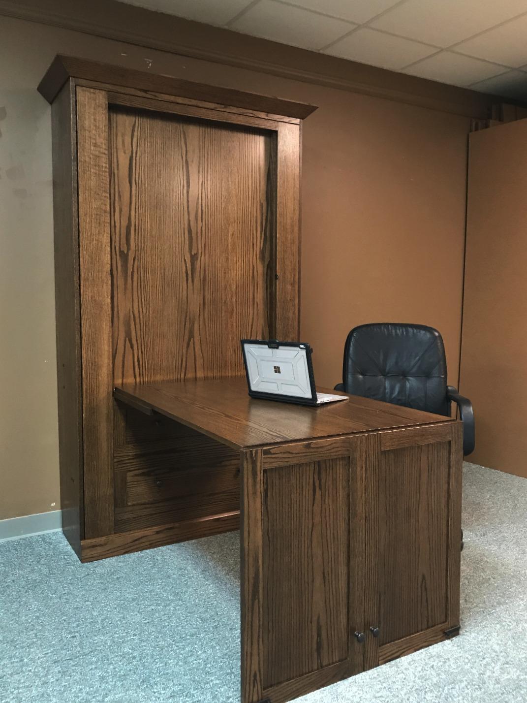 Twin Craftsman Murphy Bed Desk Open