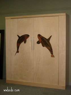 Whale Marquetry Murphy Bed