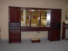 Custom bedroom wall unit in cherry