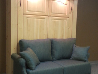 Pine Murphy Bed with Double Desk and Sofa