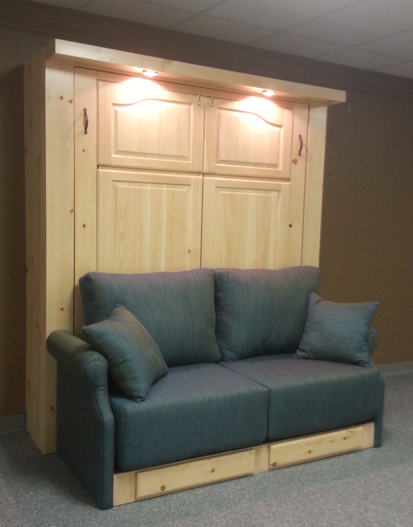 Pine Murphy bed with Sofa