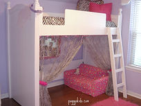 White loft bed with 4 post