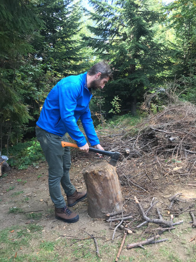 cutting wood for camp fire