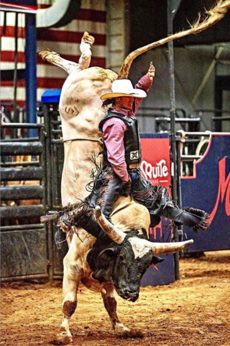 Stace Smith's bull Eruption and Adam Lucero at Mesquite this weekend! Photographer Steve Wrubel caught a wicked shot!