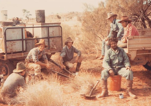 "From rftte.com member Andrew Batten - Tieyon Stock Camp circa 1977 - Robert Elcombe, Mark Brown, ""Big"" Mick Albrecht, Trevor Pereham, Donny Grant, Alec Hoosan — at Tieyon Station, SA."