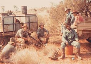 "From rftte.com member Andrew Batten - Tieyon Stock Camp circa 1977 - Robert Elcombe, Mark Brown, ""Big"" Mick Albrecht, Trevor Pereham, Donny Grant, Alec Hoosan — at Tieyon Station, SA."