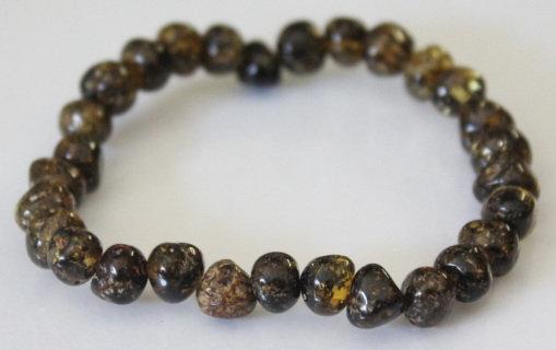 Baltic Amber Adult Bracelet - Black Green