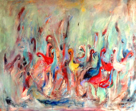 Flamingos II / Mixed Media on canvas / 80 x 100 cm / 2018