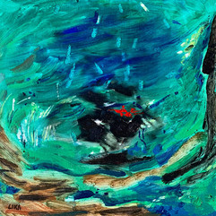 I cross the sea / Oil on Board / 40 x 40 cm / 2019
