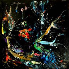 Rendez-vous por la noche / Acrylic on canvas / 120 x 120 cm / 2015 (Private Collection Portugal)