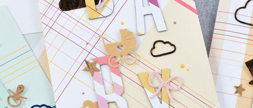 Babykarte in apricot/rosa kariert