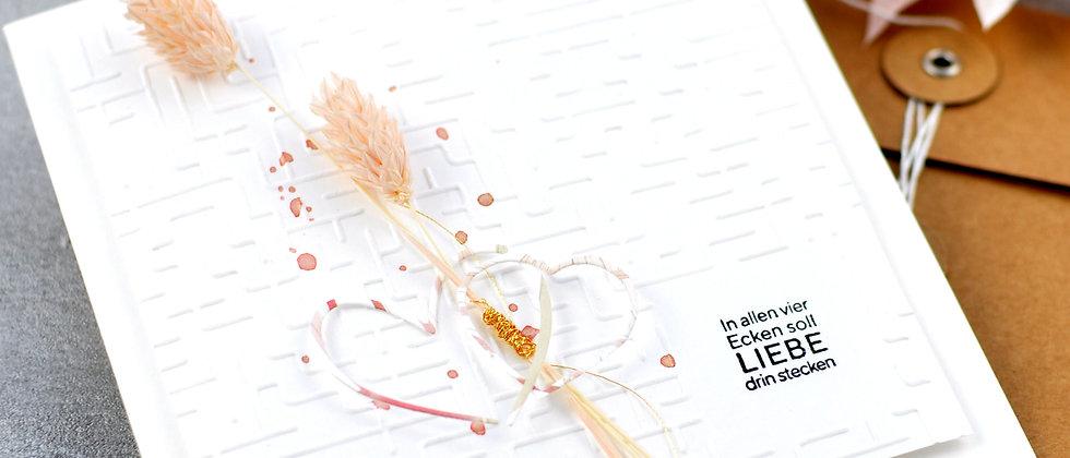 Hochzeitskarte - schlicht mit Blumendetails