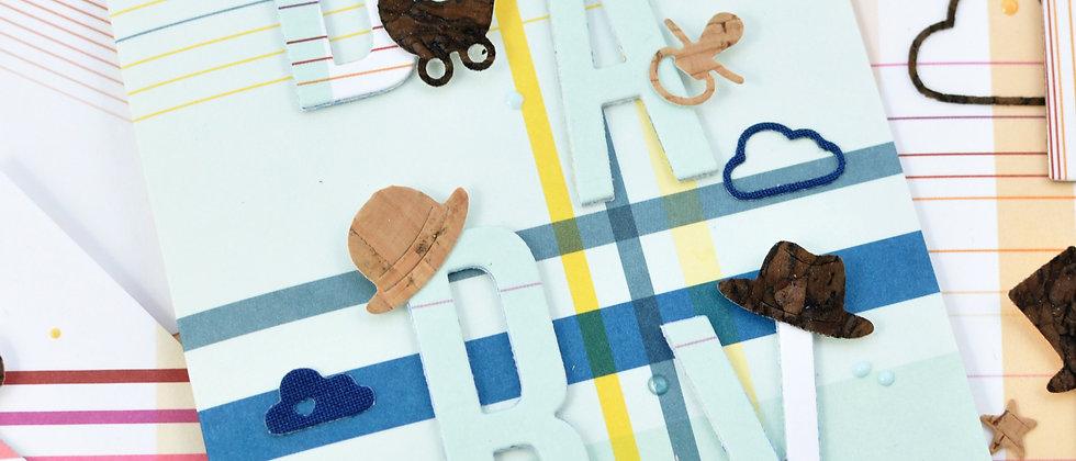 Babykarte in blau/gelb kariert