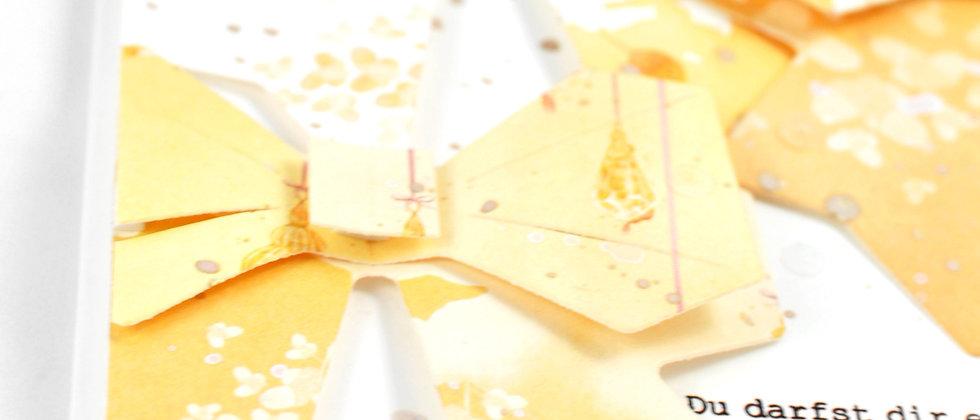 Wunschkarte mit Schleifen in gelb/orange
