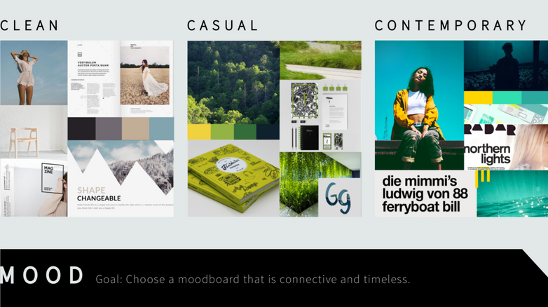 To generate the look and feel of the website, I complied moodboards. The colors of the school are gold and green, so I started with the center board, then tried to push the color direciton into something more contemporary and contrast-y, which resulted in the far right design.