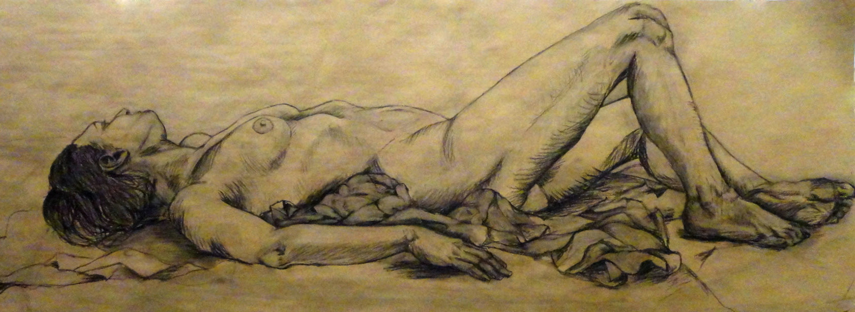 charcoal on brown paper
