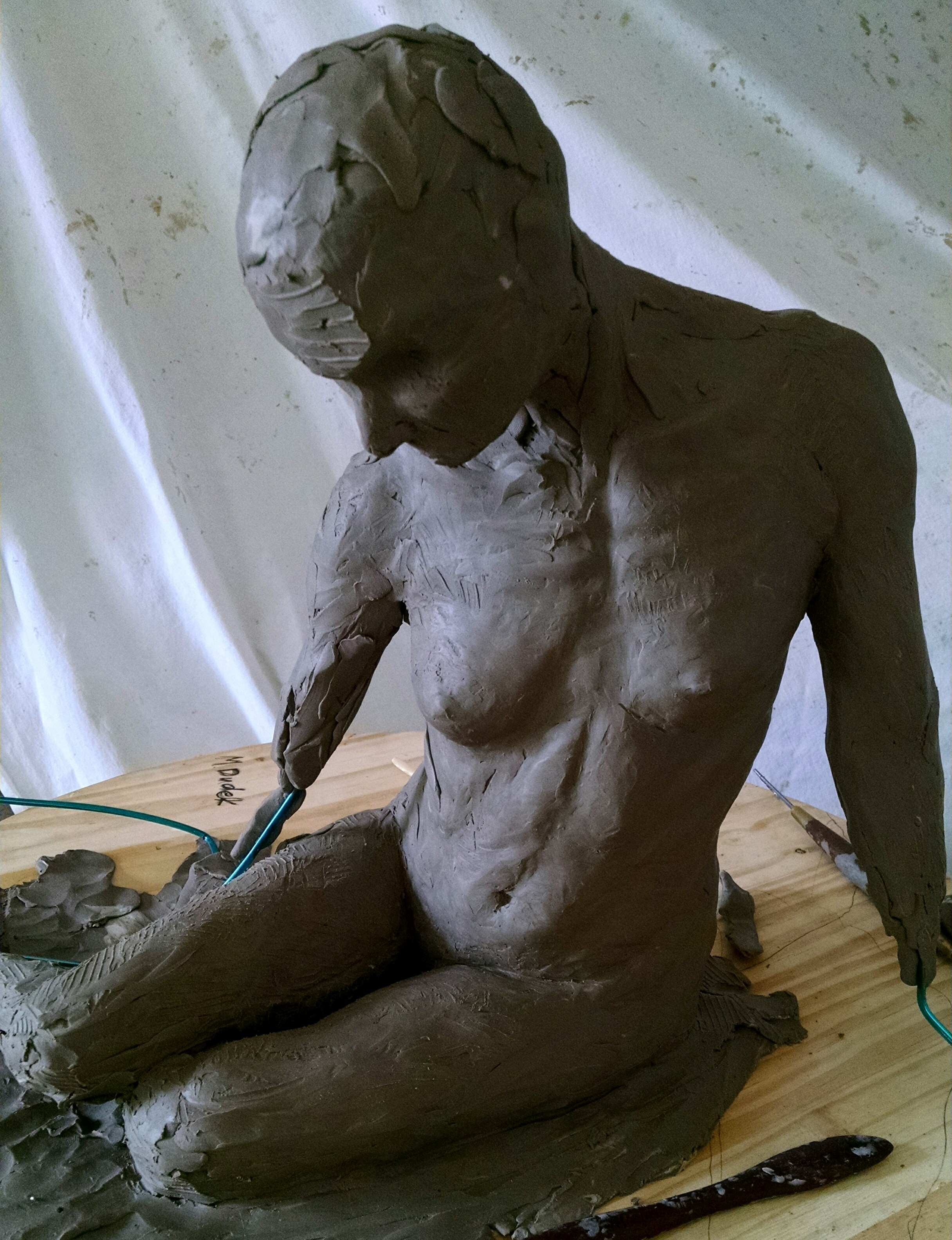 1/3rd life size oil clay figure