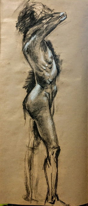 charcoal and white conte