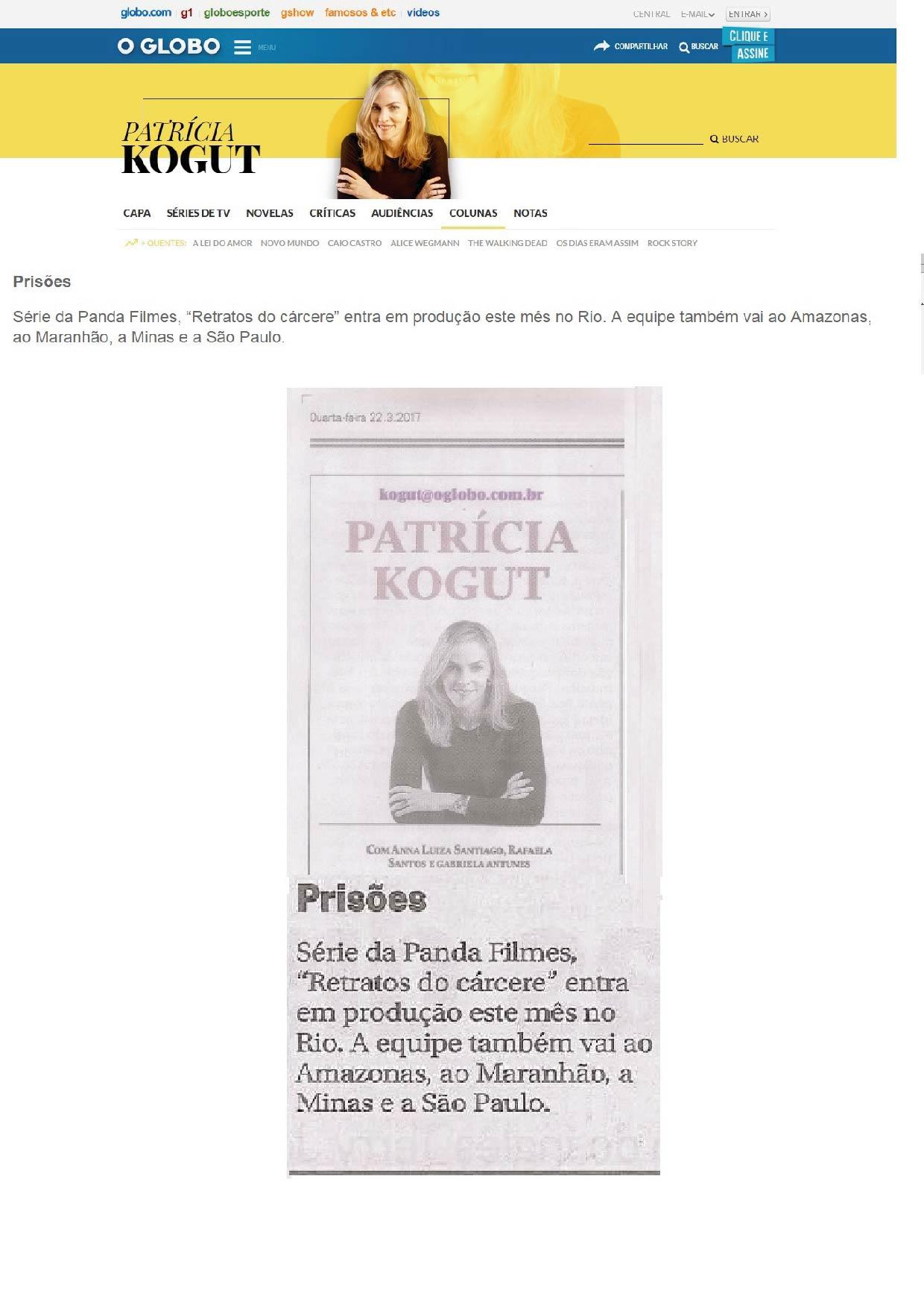 Coluna Patrícia Kogut | 22.03