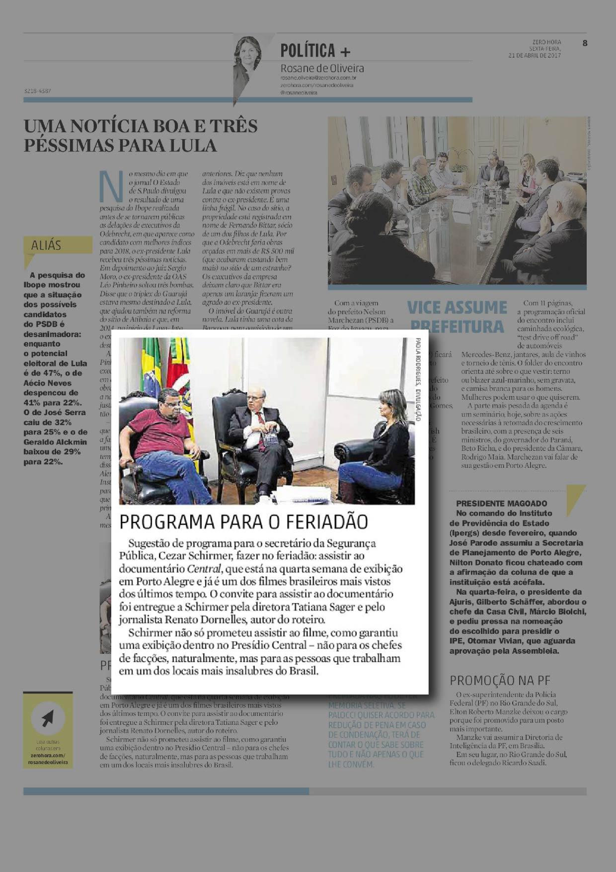 Coluna Rosane de Oliveira ZH | 21.04