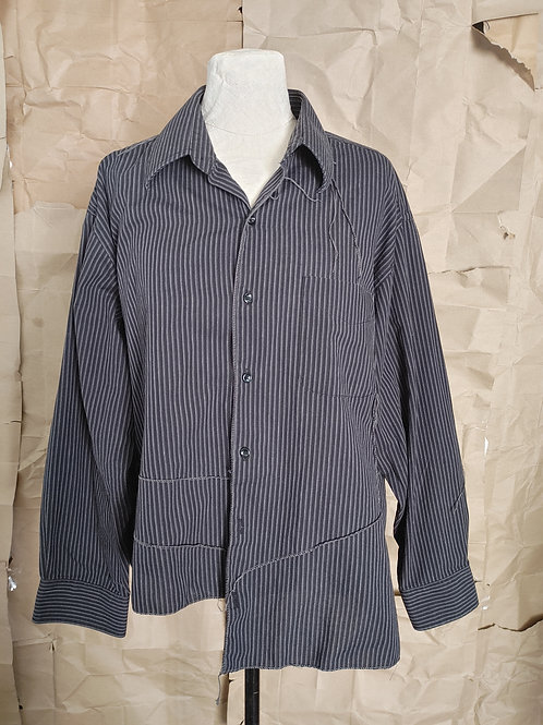 Gray Cotton Striped Scar-Stitched Shirt