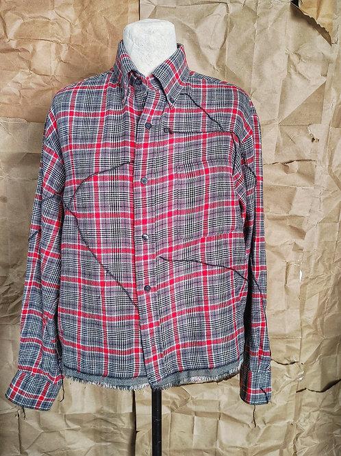 Red/Gray Plaid Flannel Shirt w/scar stitching and trim
