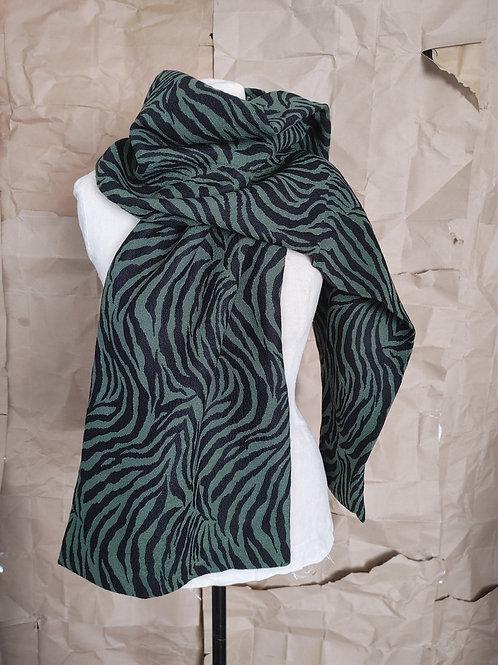 Large Print Wool Scarf - black/olive