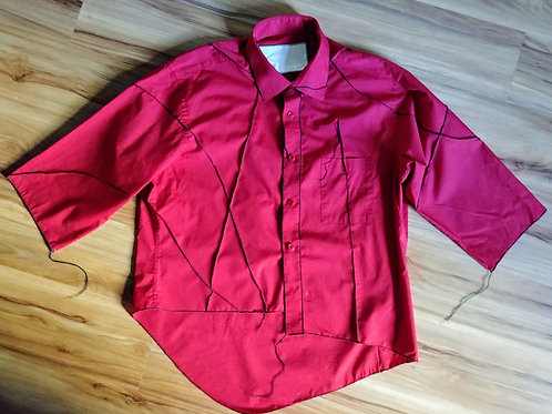 RED COTTON TOP W/ SCAR STITCHING