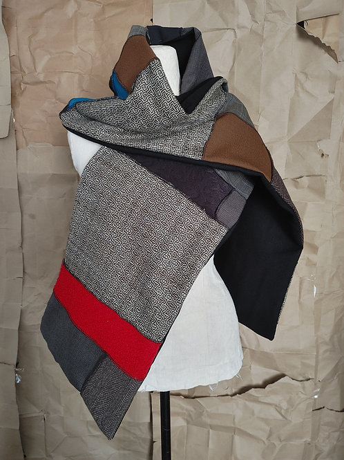Large Wool Patchwork Scarf