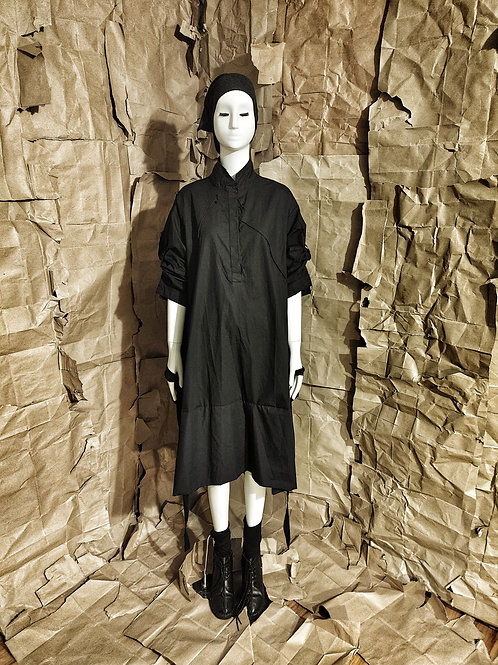 Black Cotton Parachute Dress w/scar-stitching