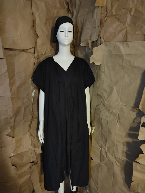 Black Cotton Duster - cap sleeve w/pockets