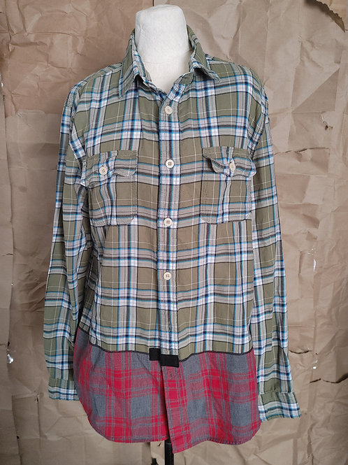 Olive/Red Mixed Plaid Cotton Shirt