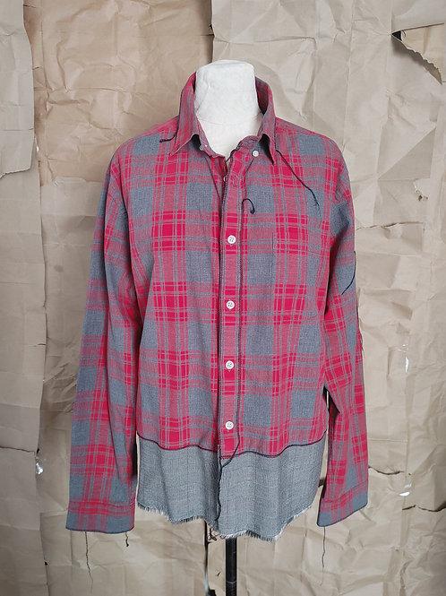 Red/Gray Mixed Plaid Shirt - XL