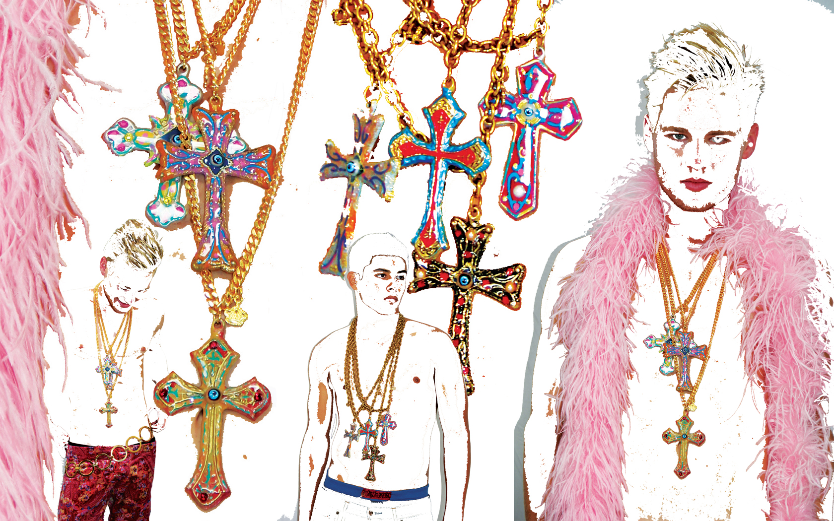Hand Painted Brass Cross