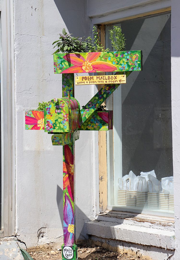 """'Herb Garden"""" - Poem Mailbox  About: The work can be found outside of NEXT Gallery in Lakewood, Colorado  Materials: Redwood, upcycled mailbox, acrylic paint and oil varnish"""